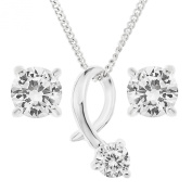 Ornami Sterling Silver CZ Solitaire Pendant and Earring Set with Chain of 46cm