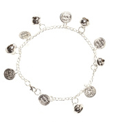 Tribal Belly Dance Anklet With Bells Silver Tone