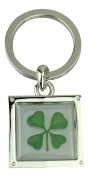 Real Four Leaf Clover Square Keyring or Bag Charm Good Luck Charm