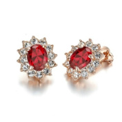 Yoursfs Unique Kate Middleton Style Ruby Jewellery 18K Rose Gold Plated Crystal Clip-on Earrings