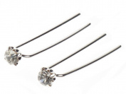 Ladies Pair of 6cm Crystal Bridal Hair Pins - Great for Parties, Formal Dinners