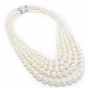 Jerollin Fashion Resin White Faux Pearl Multi Strand 5 Layers Chunky Dressy Bib Necklace Pearl Chain for Christmas Gift