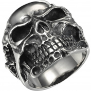 VALYRIA Jewellery Gothic Stainless Steel Skull Biker Men's Ring, Antique Silver