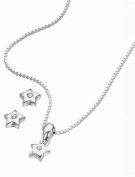D for Diamond Silver Star Pendant for Girls