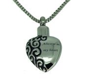 Always in my Heart Urn Pendant - Memorial Ash Keepsake - Cremation Jewellery