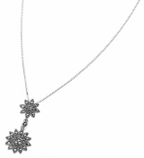 Elements Sterling Silver Ladies' P901 Marcasite Double Daisy Drop Pendant. 46cm Box Chain