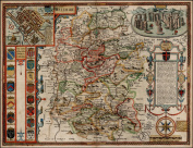 Large A1 Size Wilshire (Wiltshire) Reproduction 17th Century Antique Map of Wiltshire by John Speed, With insets of Salisbury & Stonehenge and Decorative Coats of Arms Detail, Old Plan of Wiltshire County