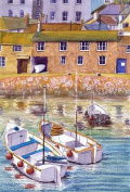 Mousehole boats Cornwall art print from a watercolour painting by Alex Pointer