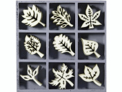 cArt-Us 10.5 x 10.5 cm Wooden Box with Leaves Ornaments, Natural