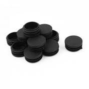 12 Pcs Black Plastic 40mm Dia Round Tubing Tube Insert Caps Covers