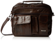 Leather Travel Bag with Carry Handle, Detachable Shoulder Strap and Mobile Phone Pocket (Dark Brown / Black / Tan).