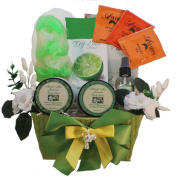 Tranquil Delights Spa Bath and Body Gift Set Basket With Tea