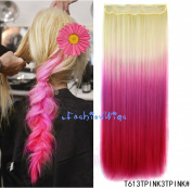White blonde to hot pink three Colours Ombre hair extension, Synthetic Hair extensions UF214