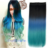 Black to blue to lake blue three Colours Ombre hair extension, Synthetic Hair extensions UF202