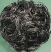 KATIE 18cm Pony Fastener Hair Scrunchie 44-Off Black with 50% Grey