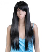 Cool2day® 75cm Long Straight OL Girl's Black Heat Friendly Hair Side Bangs Party Wig 161