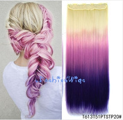 White blonde to purple three Colours Ombre hair extension, Synthetic Hair extensions UF213
