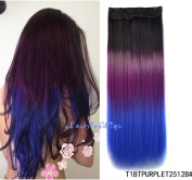 Black to purple to royal blue three Colours Ombre hair extension, Synthetic Hair extensions UF209