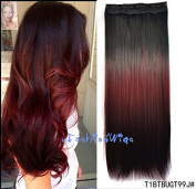 Black to burgundy to Reddish brown three Colours Ombre hair extension, Synthetic Hair extensions UF207