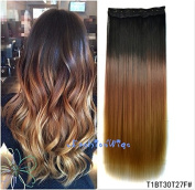 Black to golden brown to strawberry blonde three Colours Ombre hair extension, Synthetic Hair extensions UF205