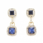 Gorgeous Gold Tone Blue Faceted Glass Stone White Crystal Post Backings Earrings