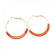 Simple Gold Tone Ear Cuff Earrings with Orange Colour Thread Wrap Decoration