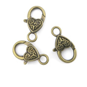 Qty 60 Pieces Jewellery Making Charms Findings Supplies Repair Craft Antique Bronze CT1128 Carved Lobster Clasps
