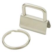 50 Sets - 1 Inch 25mm Key Chain Key Fob Hardware Wristlet Set with Split Ring Wrist
