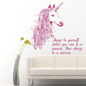 Wall Decals Always be Yourself Quotes Animals Unicorn Horse Horn Mane Decal Vinyl Sticker Home Decor Room Bedroom Living Room Study Murals ML34