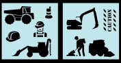 Auto Vynamics - STENCIL-CONSTRUCTIONSET01-20 - Detailed Construction Equipment Stencil Set - Everything From Dump Trucks to Cranes! - 50cm by 50cm Sheets - (2) Piece Kit - Pair of Sheets