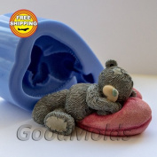 Teddy on Pillow 3d Mould Soap Mould Silicone Moulds Mould for Soap Mould Teddy Mould Silicone Mould Animals Mould Sleeping Teddy