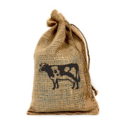 Cow, Customised 15cm X 25cm Burlap Party Favour Bag with Drawstring - Set of 10