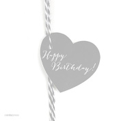 Andaz Press Heart Gift Tags, Whimsical Style, Happy Birthday!, Grey, 30-Pack