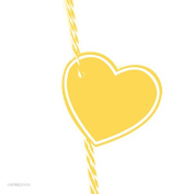 Andaz Press Heart Gift Tags, Solid, Blank, Yellow, 30-Pack