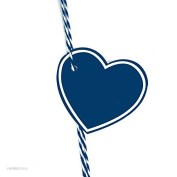 Andaz Press Heart Gift Tags, Solid, Blank, Navy Blue, 30-Pack