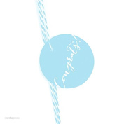 Andaz Press Circle Gift Tags, Whimsical Style, Congrats!, Baby Blue, 24-Pack