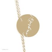 Andaz Press Circle Gift Tags, Whimsical Style, Congrats!, Tan Brown, 24-Pack
