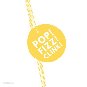 Andaz Press Circle Gift Tags, Modern Style, Pop, Fizz, Clink!, Yellow, 24-Pack