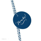 Andaz Press Circle Gift Tags, Whimsical Style, Thanks!, Navy Blue, 24-Pack
