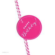 Andaz Press Circle Gift Tags, Chic Style, Happy Birthday!, Fuchsia, 24-Pack