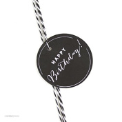 Andaz Press Circle Gift Tags, Chic Style, Happy Birthday!, Black, 24-Pack
