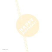 Andaz Press Circle Gift Tags, Modern Style, Happy Birthday!, Ivory, 24-Pack