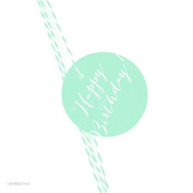 Andaz Press Circle Gift Tags, Whimsical Style, Happy Birthday!, Mint Green, 24-Pack