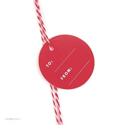 Andaz Press Circle Gift Tags, Modern Style, To / From, Red, 24-Pack