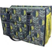 Creative Options 5 Pocket Knitting Tote 39cm x 17cm X10.60cm -Navy, Charcoal, Yellow