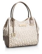 Calvin Klein Candice Lurex Logo Jacquard Centre Zip Hobo Handbag Satchel