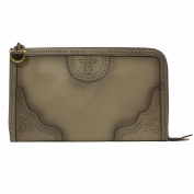 Gucci Grey Duilio Brogue Zip Around Oversized Leather Clutch 296911 AKZ5A