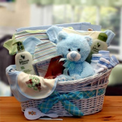 Baby Boy Gift Organic Essentials Deluxe Blue Baby Gift Basket