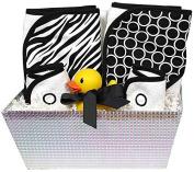 Raindrops in The Spotlight 6-Piece Hooded Towel Set, Black Zebra