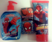 Spiderman by Marvel Boys Bathtime Gift Set of Hand Soap & Hair Gel & 2 Magic Towels